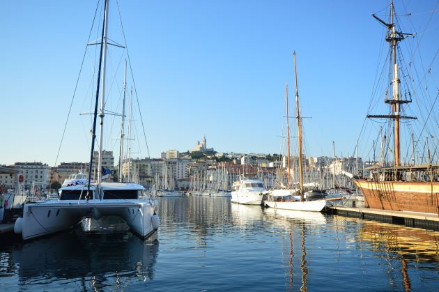 Marseille Marina with the Neo-Byzantine Notre Dame de la Garde in the Distance