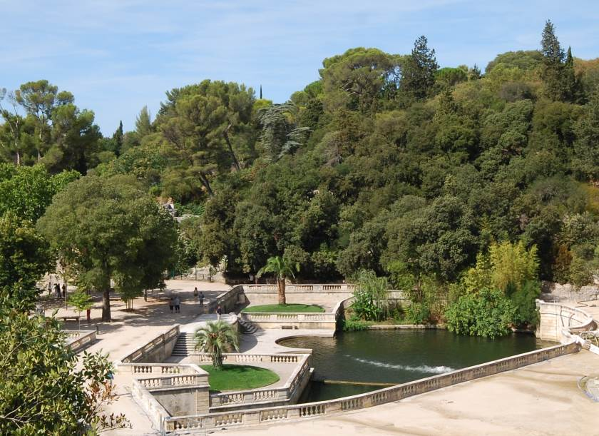 Jardin de la Fontaine, created in the 19th Century and one of the great Europe Gardens, built on the remains of earlier Roman baths