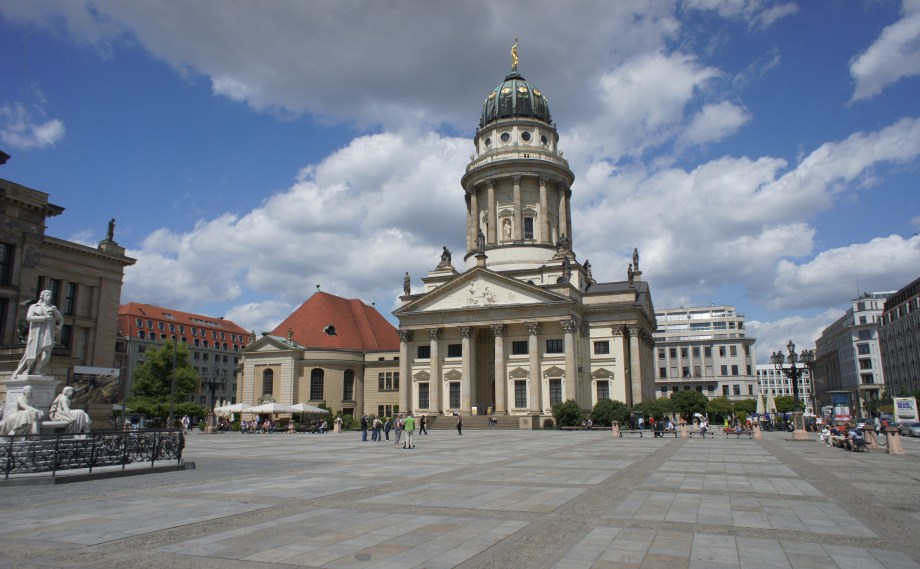 The French Cathedral, next to the Konzerthaus and the German Cathedral in Berlin's Gendarmenmarkt