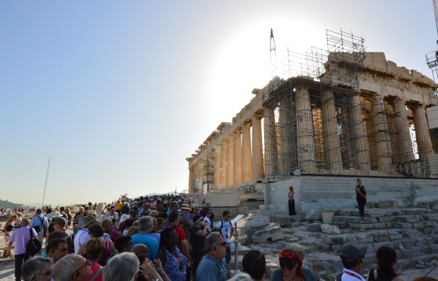 At the Acropolis, the Parthenon is slowly being restored.
