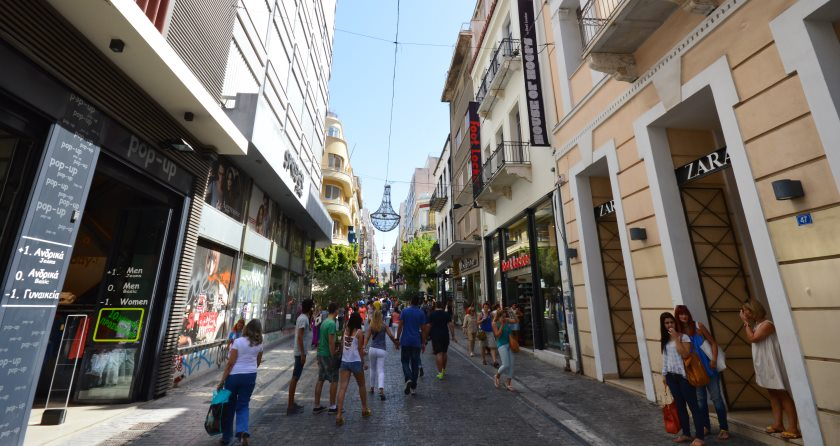 Shopping in Athens, the bustling centre of the city.