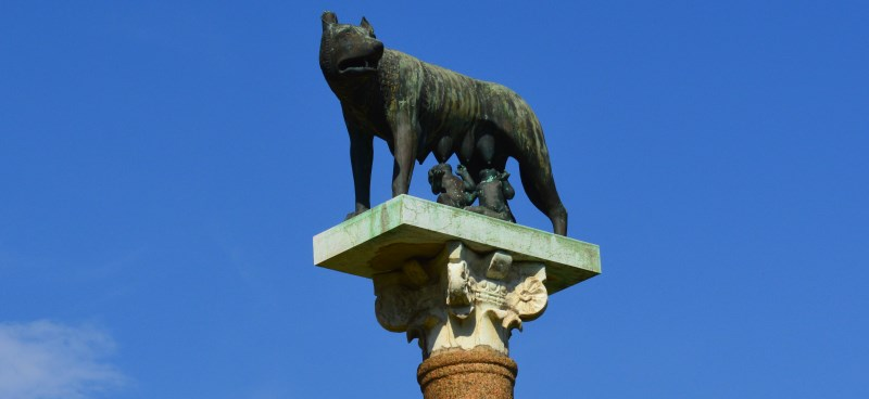 Romulus and Remus being cared for by a Wolf - Sculpture also at the Piazza del Duomo