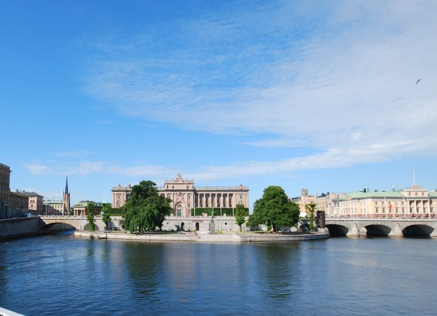 Small islands, bridges and stately historical buildings mark Stockholm